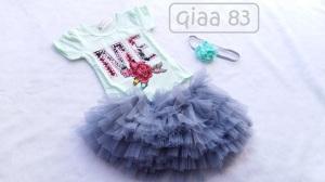 QIAA 83 - 150.000 (Satu set atasan kaos motif dan rok tutu + bandana untuk usia 1 th+)