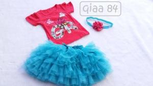 QIAA 84 - 150.000 (Satu set atasan kaos motif dan rok tutu + bandana untuk usia 1 th+)