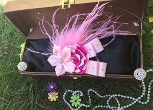 SELY229 - 40.000 (hiasan bunga bulu warna pink, bisa dijadikan jepit, bandana, bando. Ukuran bisa disesuaikan. Bisa dibuat couple mom and baby)
